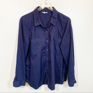 Eileen Fisher organic cotton blue button down top